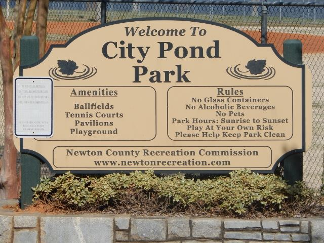 City Pond Amenities and Rules Sign