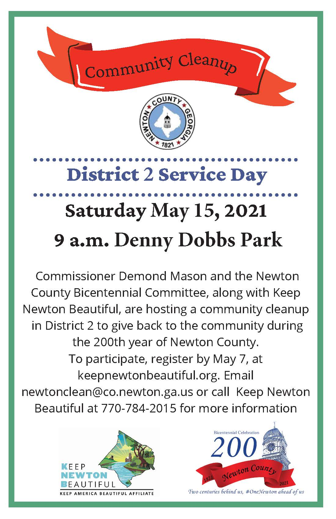 District 2 Community Cleanup flyer